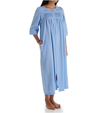 630c20bf9eb2d Miss Elaine Seersucker Long Zip Robe 863618 - Miss Elaine Sleepwear