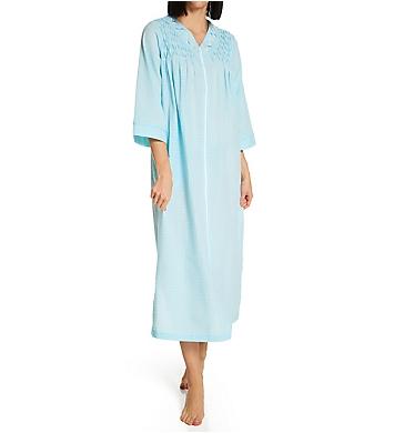 Miss Elaine Seersucker Long Zip Robe