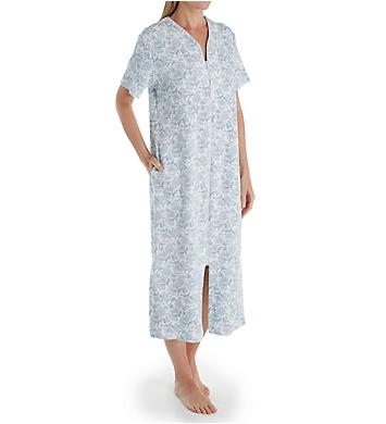 Miss Elaine Pique Knit Short Sleeve Long Zip Robe