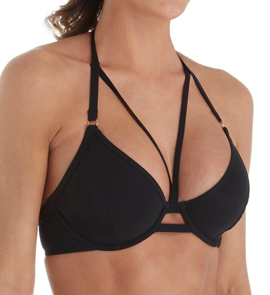 Miss Mandalay IC02UH Icon Underwire Halter Strappy Bikini Swim Top (Black)