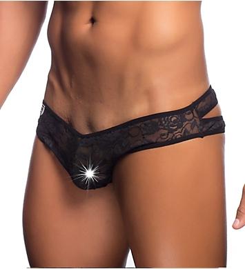 MOB Eroticwear Lace Crossed Back Sheer Bikini Brief