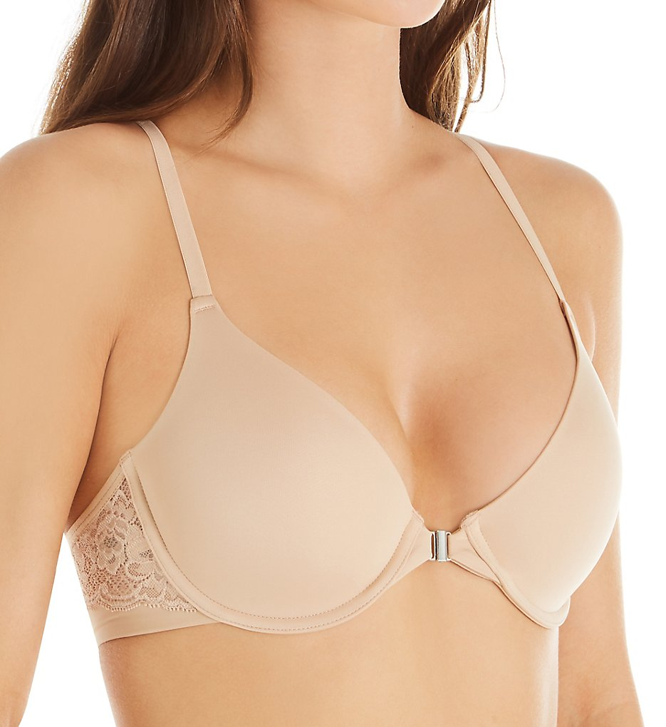 Montelle : Montelle 9331 Essentials Front Close Lace Racerback T-Shirt Bra (Nude 32B)