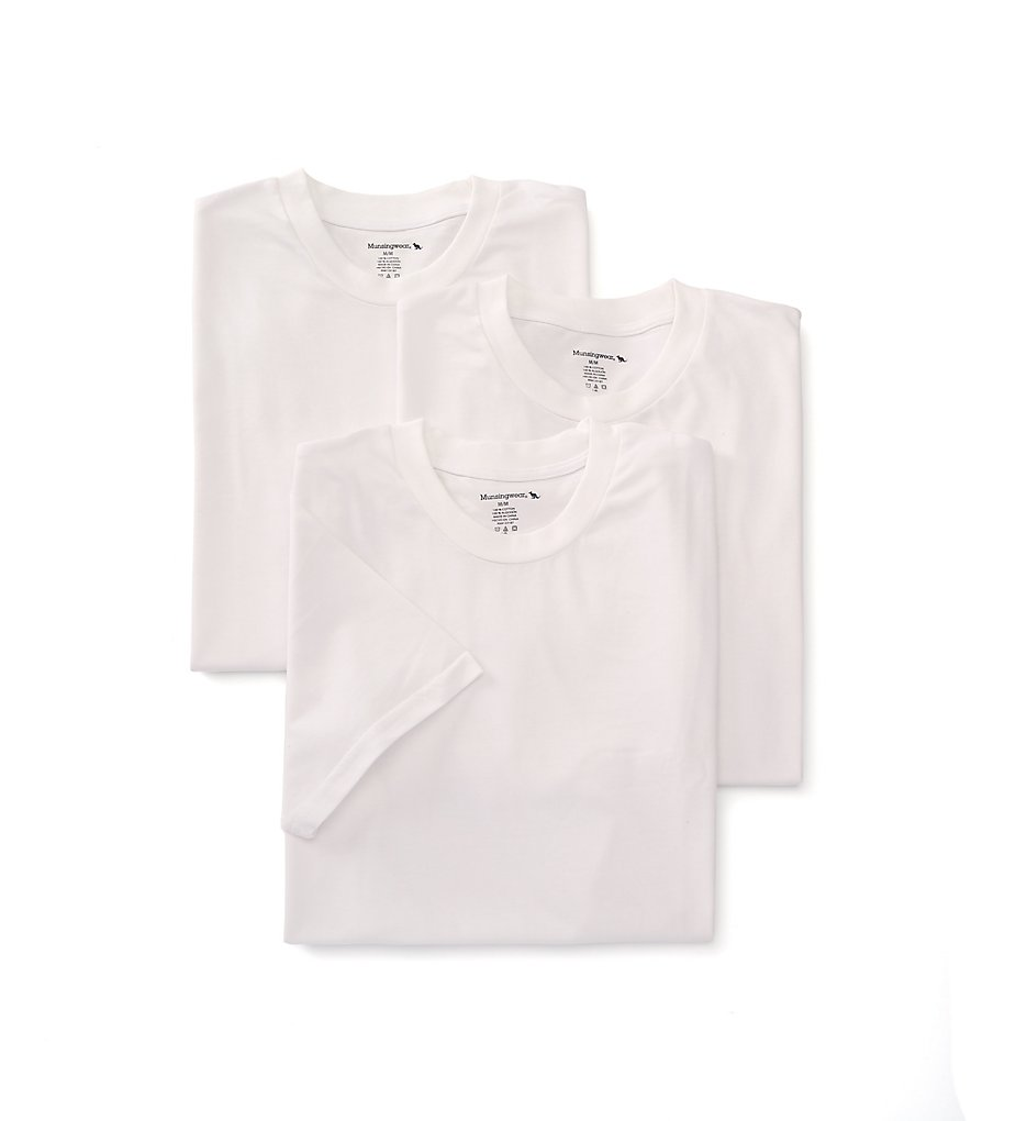 Munsingwear MW50 100% Cotton Crew Neck Shirt - 3 Pack (White)