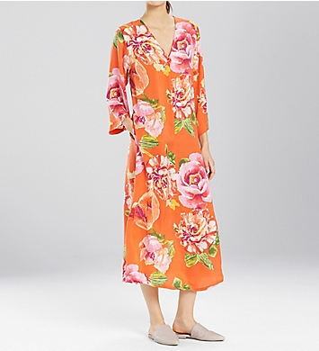 N by Natori South Pacific Silky Satin Zip Caftan