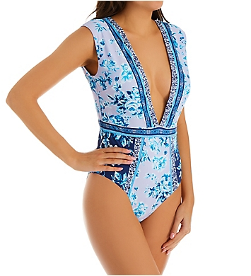 Nanette Lepore Lavender Trails Priya Plunge One Piece Swimsuit