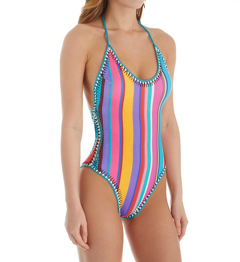 Nanette Lepore NL8CG10 Sayulita Serape Goddess Halter One Piece Swimsuit