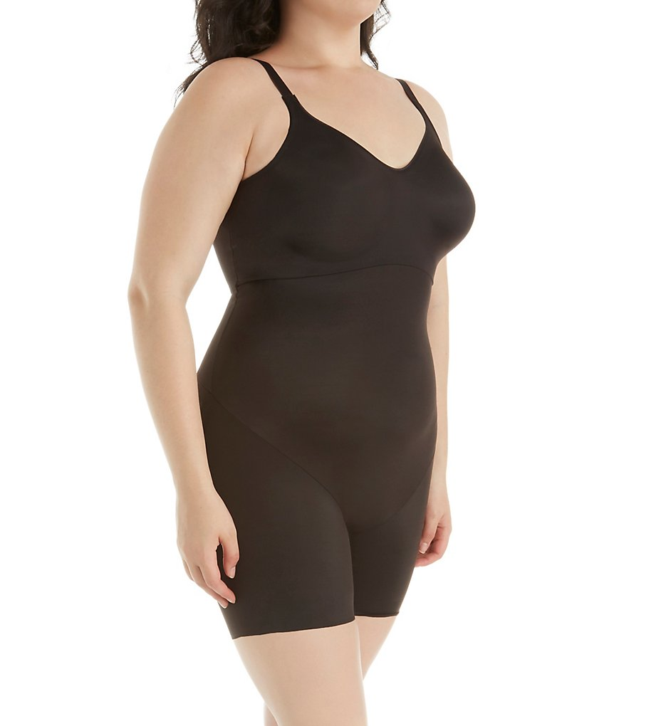 Naomi & Nicole - Naomi & Nicole 7340 Shapes Your Curves Low Back Bodysuit w/ Back Magic (Black 36D)