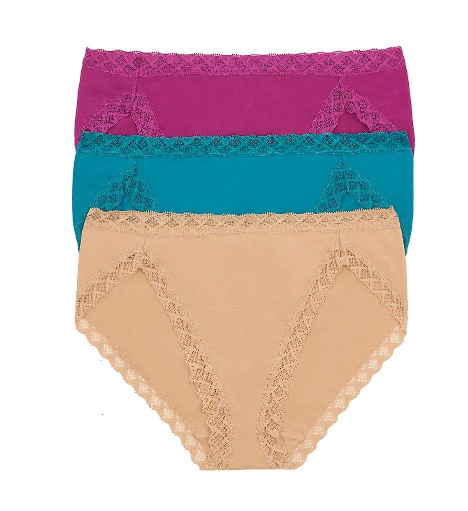 Natori - Natori 152058P Bliss French Cut Panties - 3 Pack (Mulberry/Tropic/Cafe XS)
