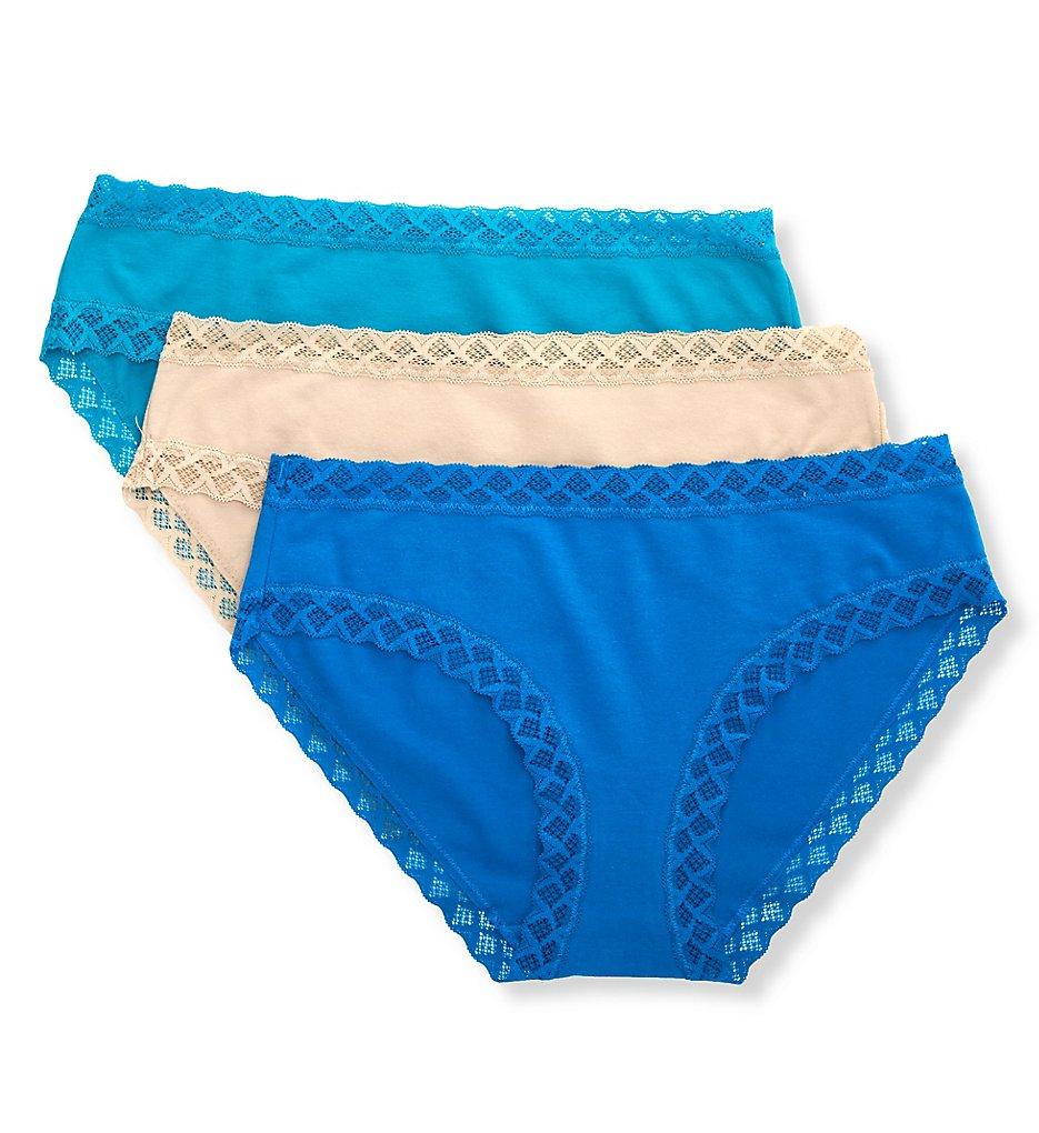 Natori - Natori 156058P Bliss Girl Brief Panties - 3 Pack (Sand/Imperial/Tropic XS)