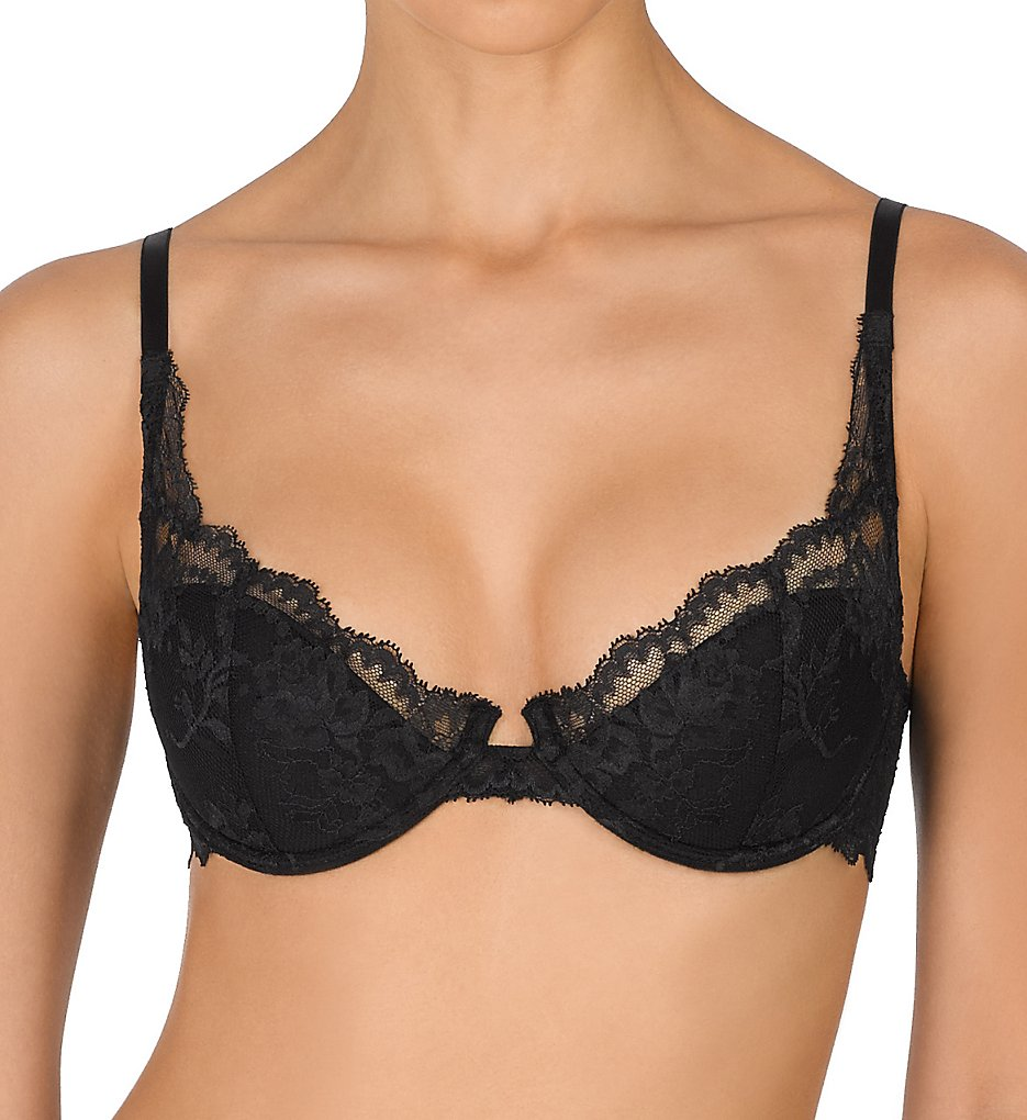 Natori : Natori 722179 Devotion Contour Demi Underwire Bra (Black/Coal 34B)