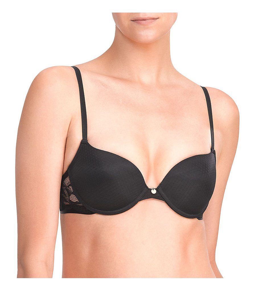 Natori >> Natori 727145 Bouquet Natural Boost Underwire Bra (Black 34D)