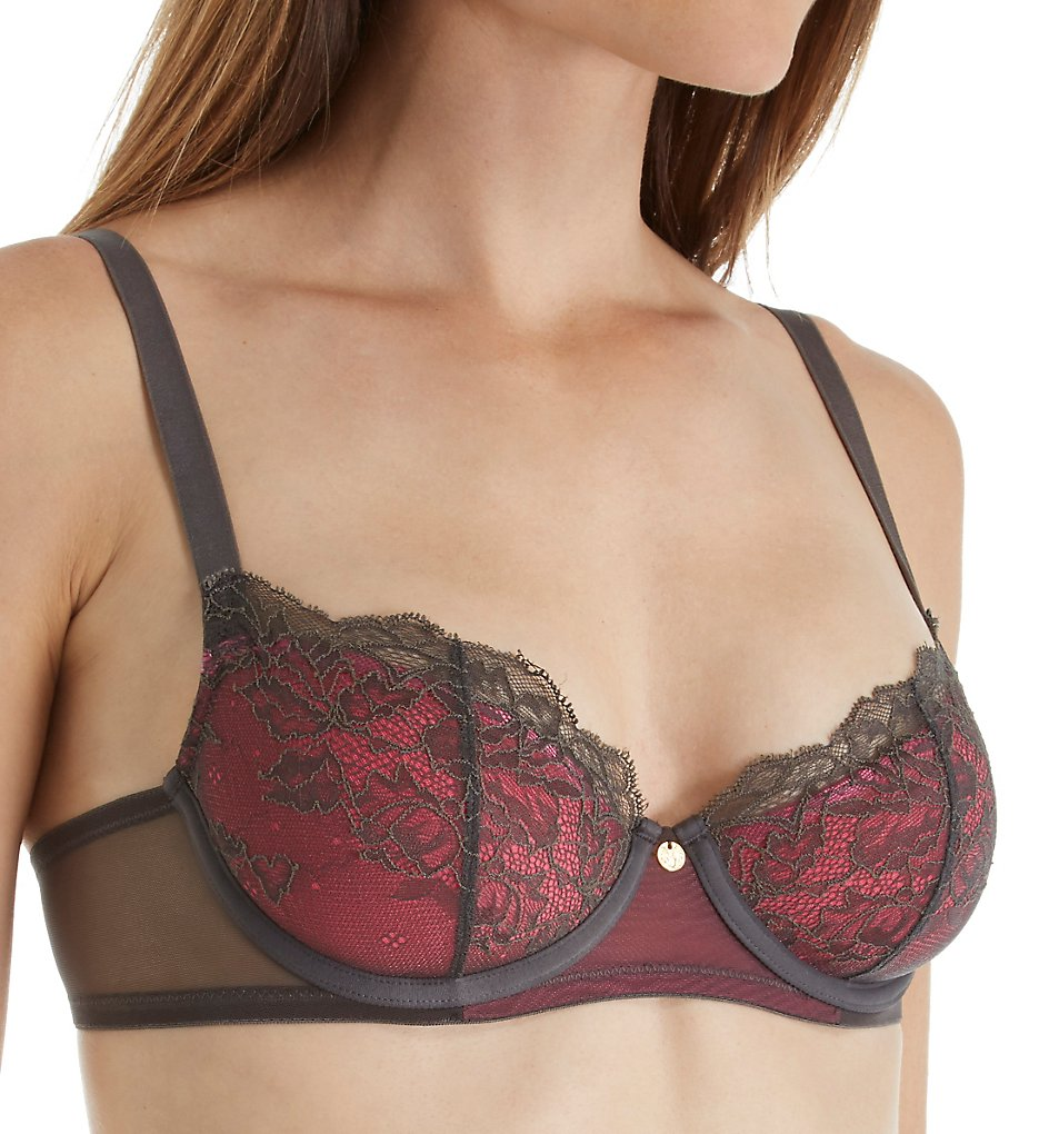 Natori : Natori 733093 Whisper Demi Spacer Bra (Dark Grey/Cosmo Pink 32DD)
