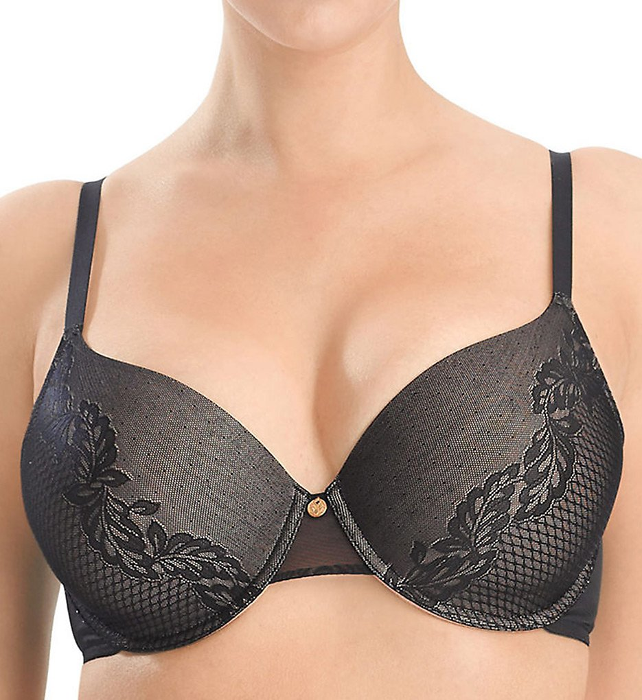 Natori - Natori 736095 Plus Support Smooth Scroll Contour Underwire Bra (Black/Cafe 34DD)