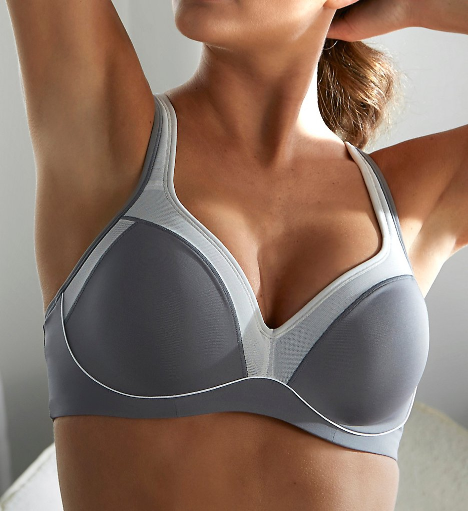 Natori : Natori 752147 Zen Contour Convertible Sports Bra (Grey/Feather Grey 32DD)