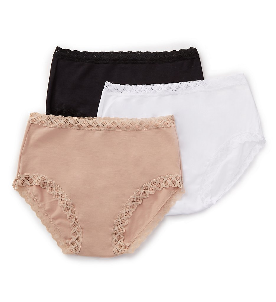 Natori : Natori 755058P Bliss Full Brief Panty - 3 Pack (Black/Cafe/White L)