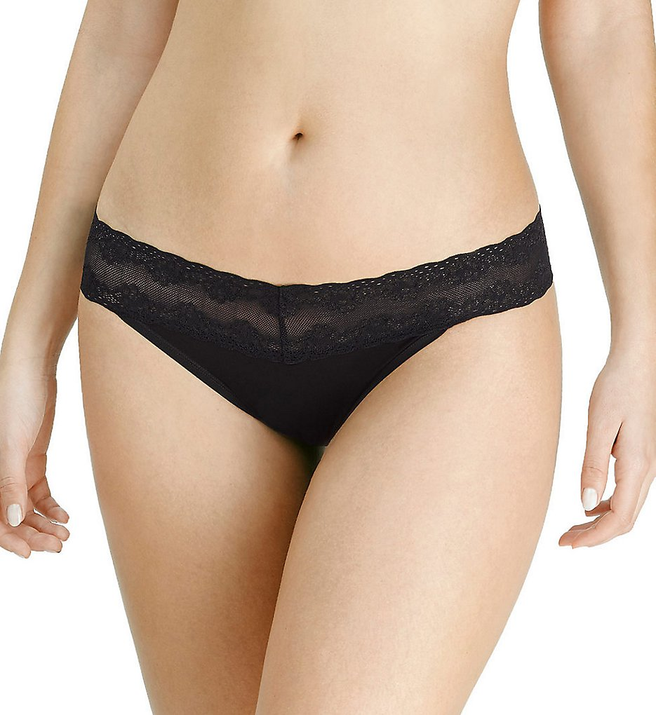 Natori - Natori 757092 Plus Support Bliss Perfection Plus Size Thong (Black O/S Plus)
