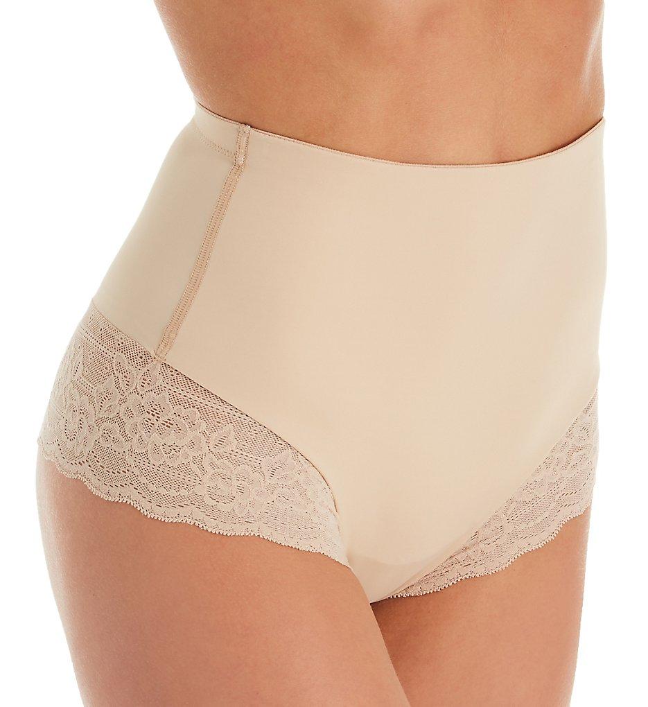 Natori - Natori 781222 Plush Hi Rise Thong Panty (Cafe XL)