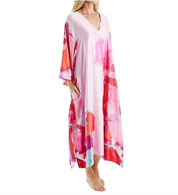 Natori Abstract Printed Silky Charmeuse Long Caftan