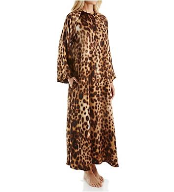 Natori Leopard Printed Silky Charmeuse Zip Caftan