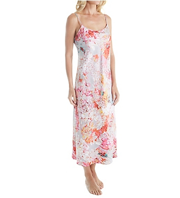 Natori Autumn Printed Silky Charmeuse Long Gown
