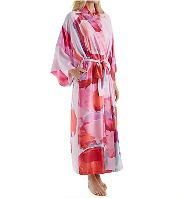Natori Abstract Printed Silky Charmeuse Long Robe