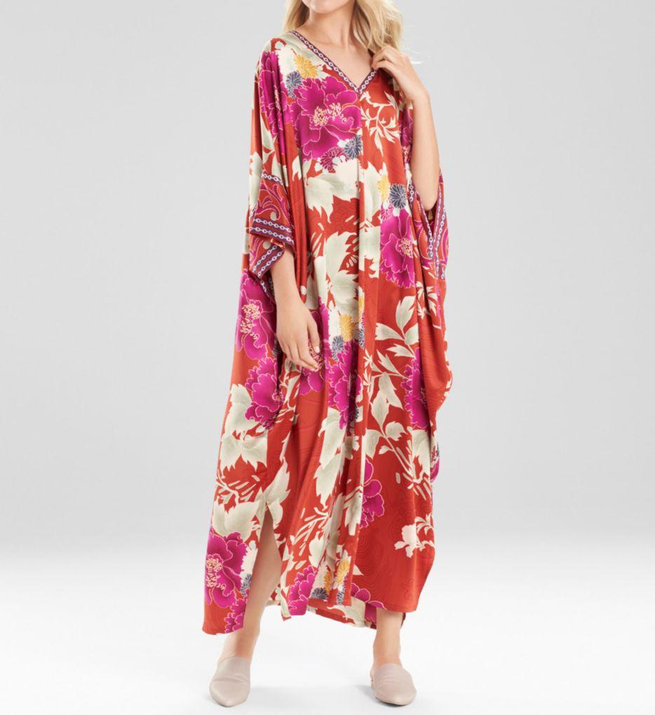 Natori Auburn Floral Zip Caftan