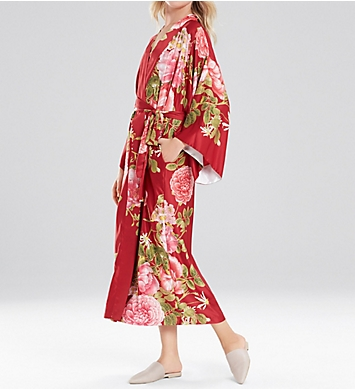 Natori Mandarin Long Printed Charmeuse Robe