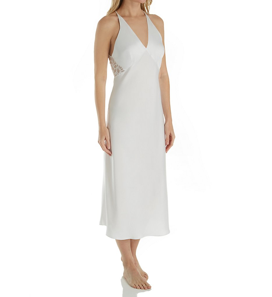 Natori Feathers Satin Gown with Lace E73052 - Natori Sleepwear
