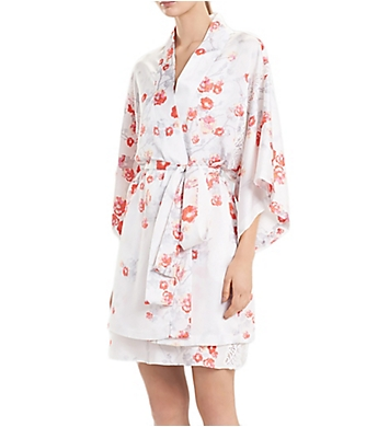 Natori Blossom Feathers Satin Wrap Robe