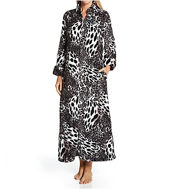 Natori Plush Leopard Long Zip Caftan