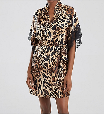 Natori Luxe Leopard Wrap With Lace