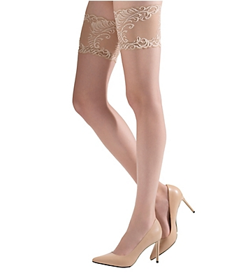 Natori Crystal Sheer Feathers Lace Top Thigh High