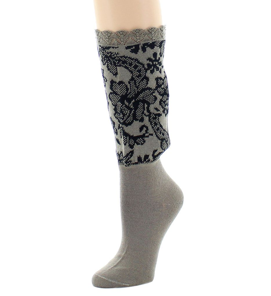 Natori Damask Crew Boot Topper
