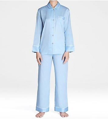 Natori Cotton Sateen Notch Pajama Set