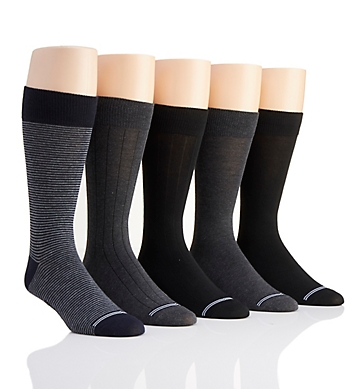 Nautica Solid Micro Stripe Dress Socks - 5 Pack