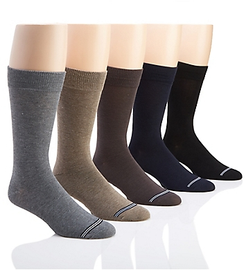 Nautica Solid Flat Knit Dress Socks - 5 Pack