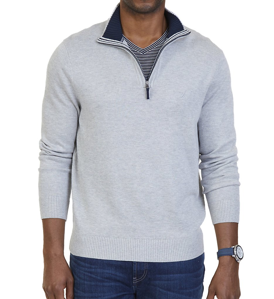 Nautica N73105T Tall Man Pima Cotton 1/4 Zip Sweater (Grey Heather)