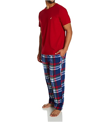 Nautica Knit Top With Flannel Pajama Pant Set