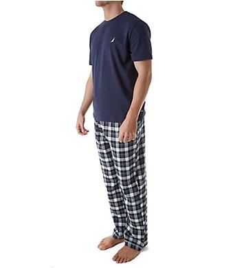 Nautica Short Sleeve Plaid Flannel PJ Set