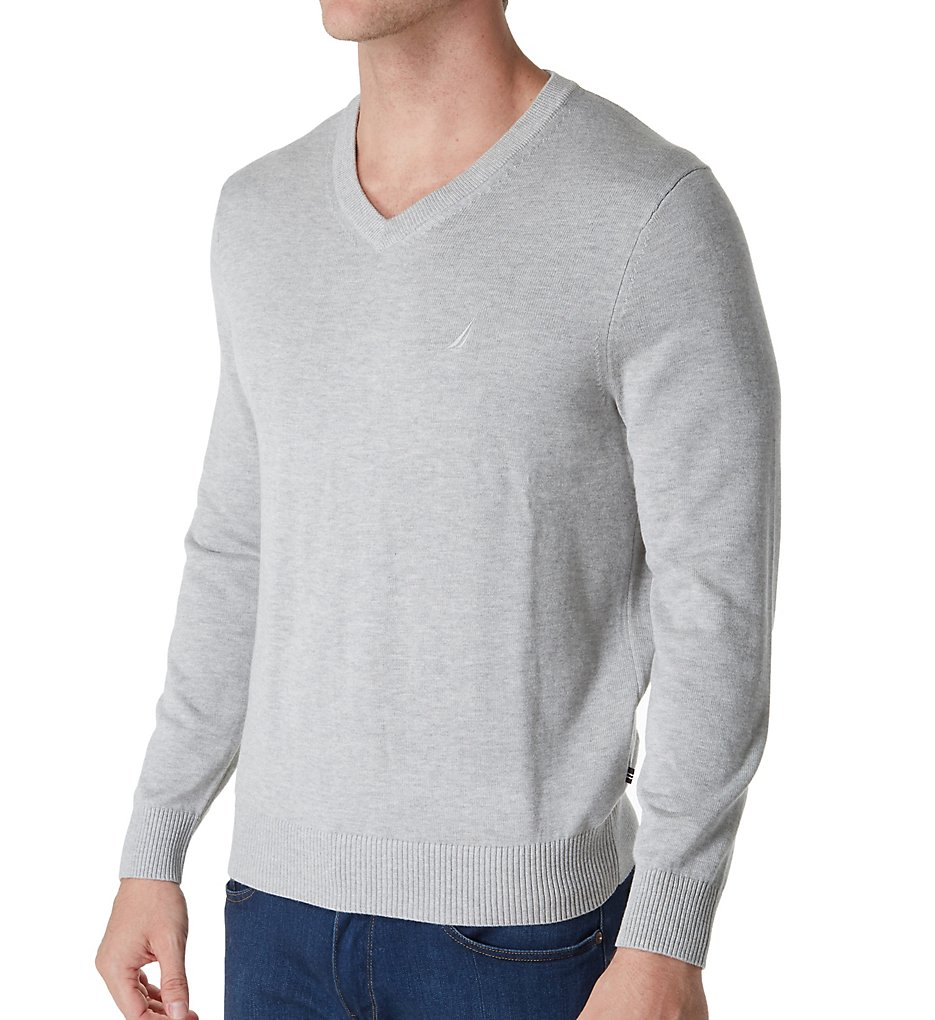 Nautica s71051 Cotton V-Neck Sweater (Grey Heather)