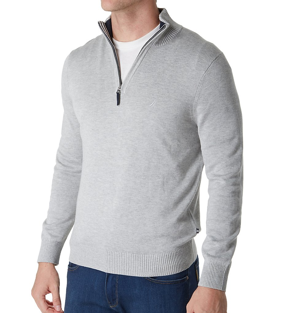 Nautica S73105 Pima Cotton 1/4 Zip Sweater (Grey Heather)