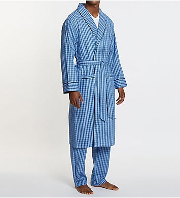 Nautica Anchor 100% Cotton Plaid Robe