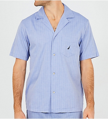 Nautica Anchor Herringbone Camp Sleep Shirt