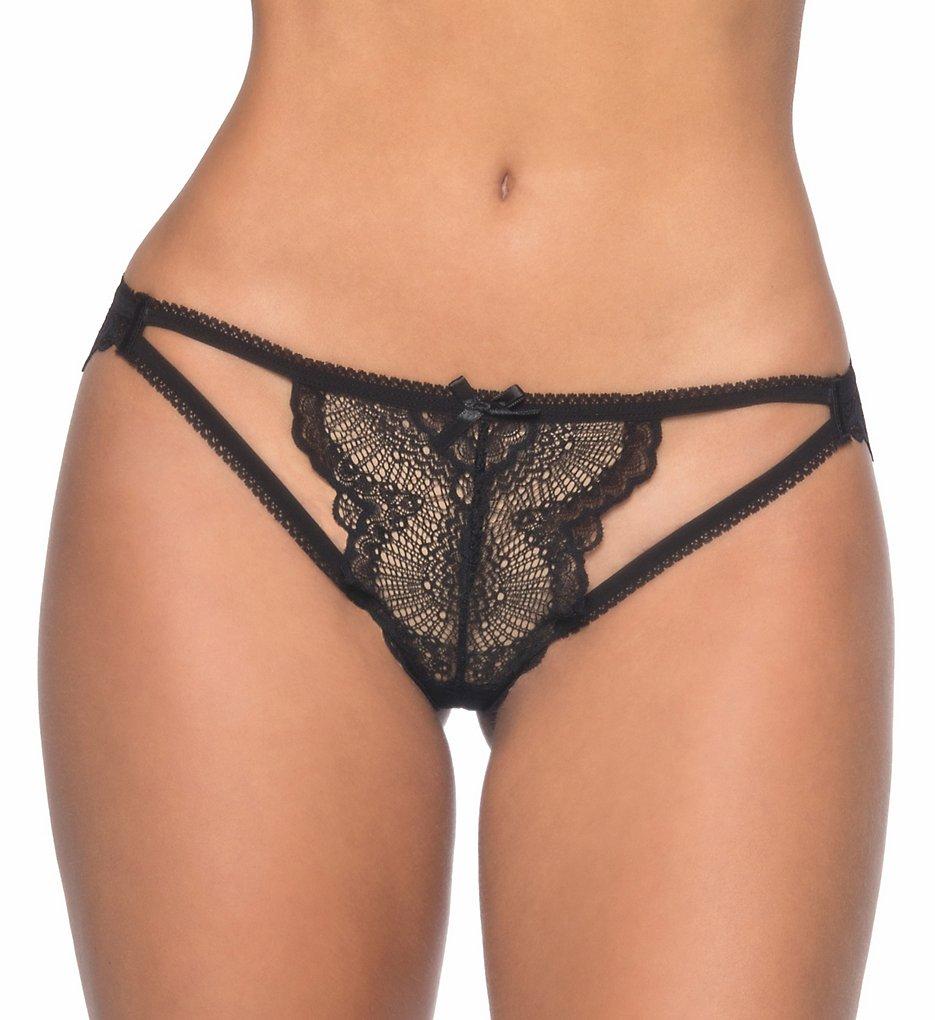 Oh La La Cheri : Oh La La Cheri 10356 Lace Key Hole Panty with Corset Back (Black S/M)