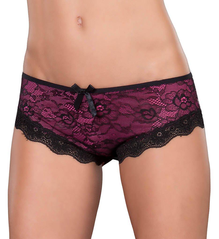 Oh La La Cheri >> Oh La La Cheri 2028 Cage Back Lace Panty (Black/Pink L/XL)