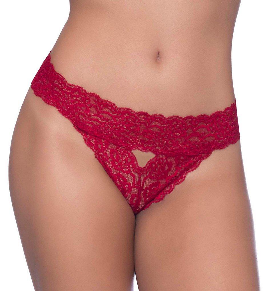 Oh La La Cheri - Oh La La Cheri 2410654 Lace Strip Open Back Bikini Panty (Red O/S Plus)
