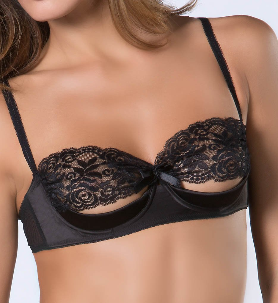 Oh La La Cheri - Oh La La Cheri 3127 Lace and Satin Shelf Bra (Black S)