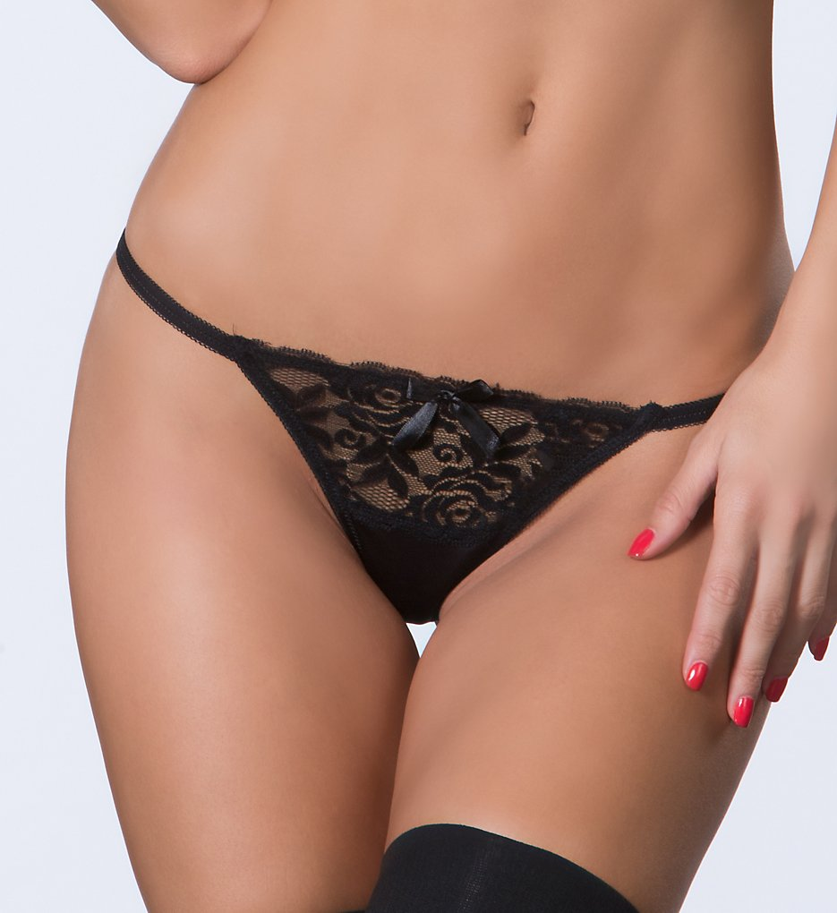 Oh La La Cheri - Oh La La Cheri 3128 Open Back Tanga with Lace (Black 2X)