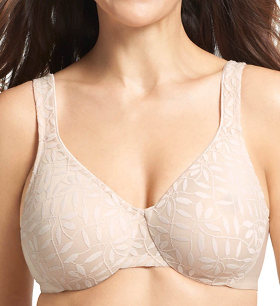 Olga >> Olga 35519 Lace Sheer Leaves Underwire Minimizer Bra (Butterscotch 36C)