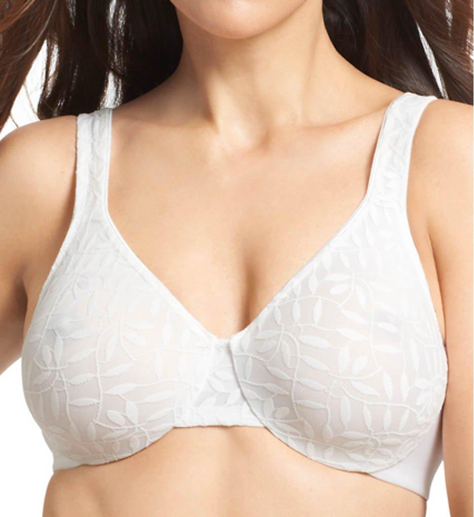 Olga 35519 Lace Sheer Leaves Underwire Minimizer Bra (White)